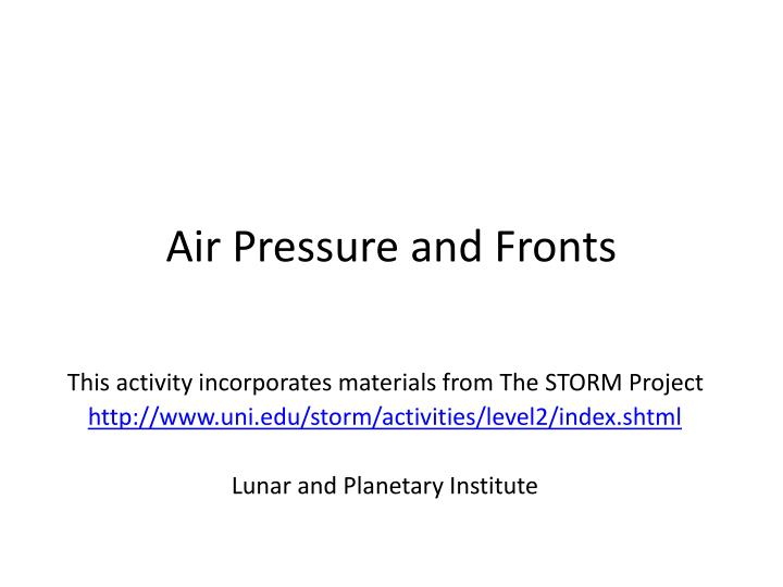 Air pressure and fronts