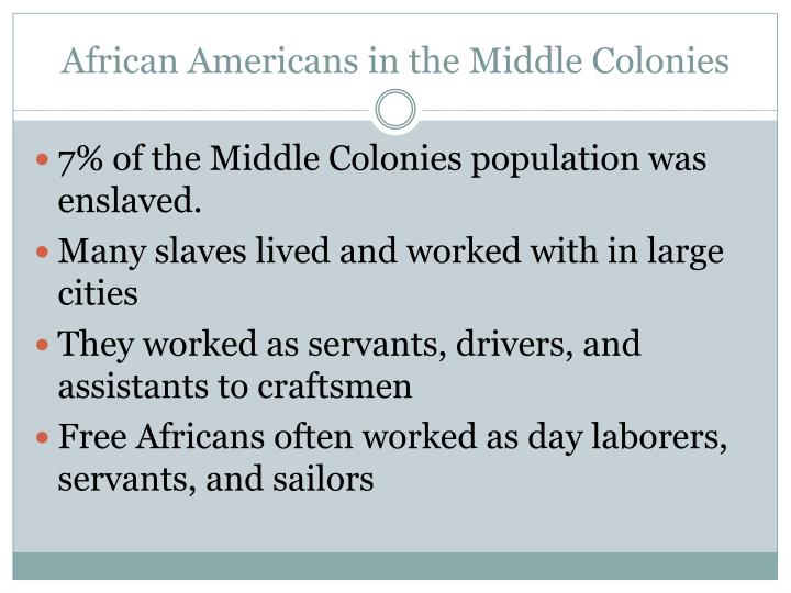 African Americans in the Middle Colonies