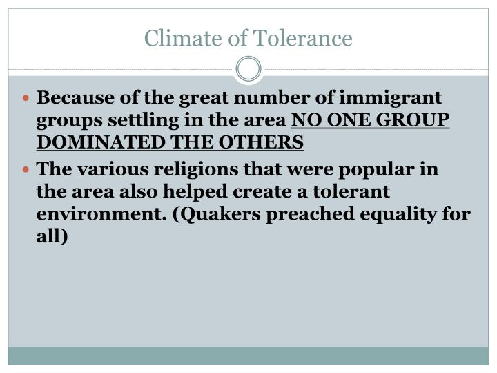 Climate of Tolerance