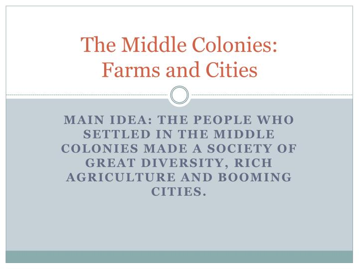 The middle colonies farms and cities