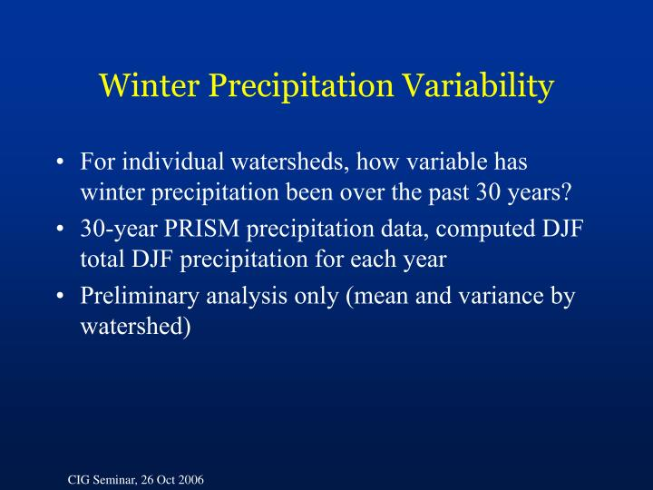 Winter Precipitation Variability