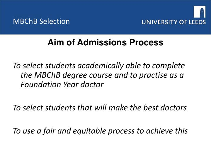 Mbchb selection