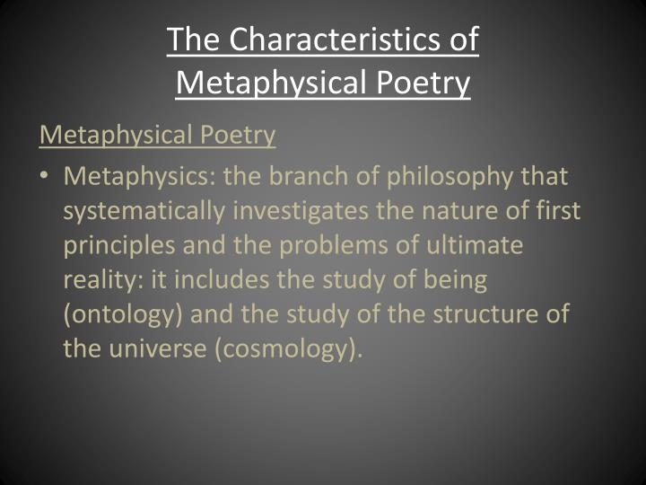the characteristics of metaphysical poetry n.