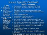 issues typically resolved