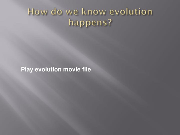 How do we know evolution happens?
