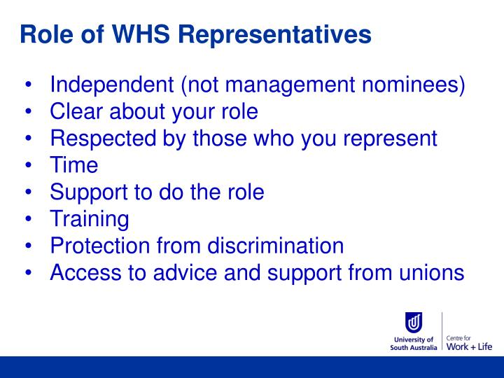 Role of WHS Representatives