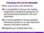 cheating will not be tolerated