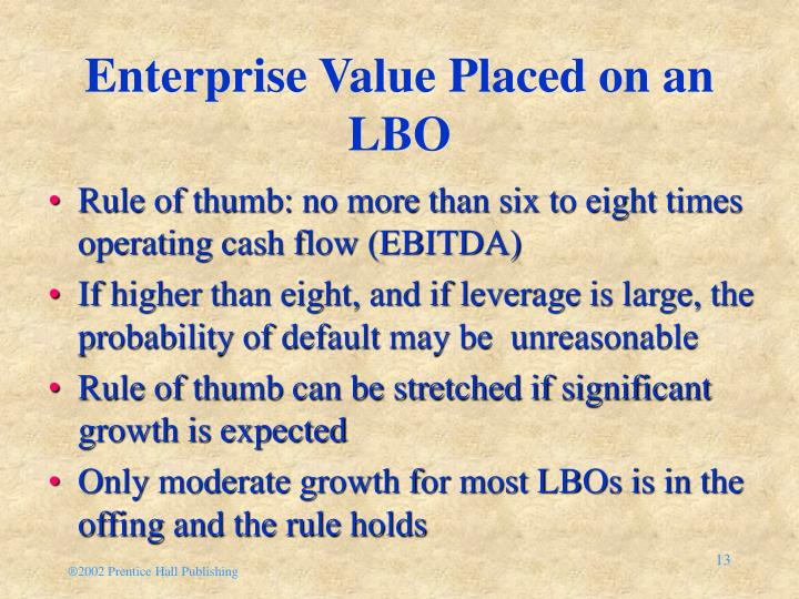 Enterprise Value Placed on an LBO