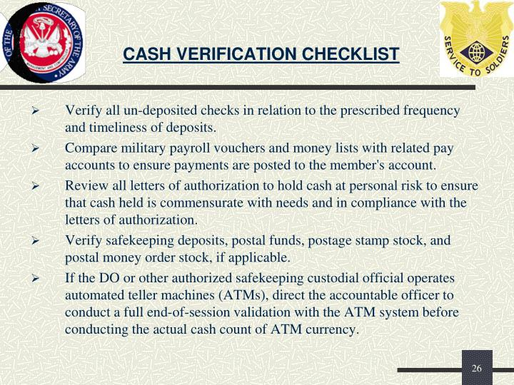 CASH VERIFICATION CHECKLIST