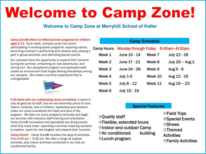 Welcome to Camp Zone!