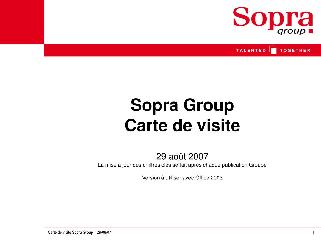Sopra Group Carte De Visite N