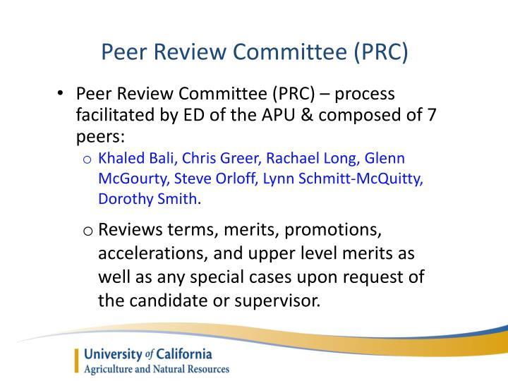 Peer Review Committee (PRC)