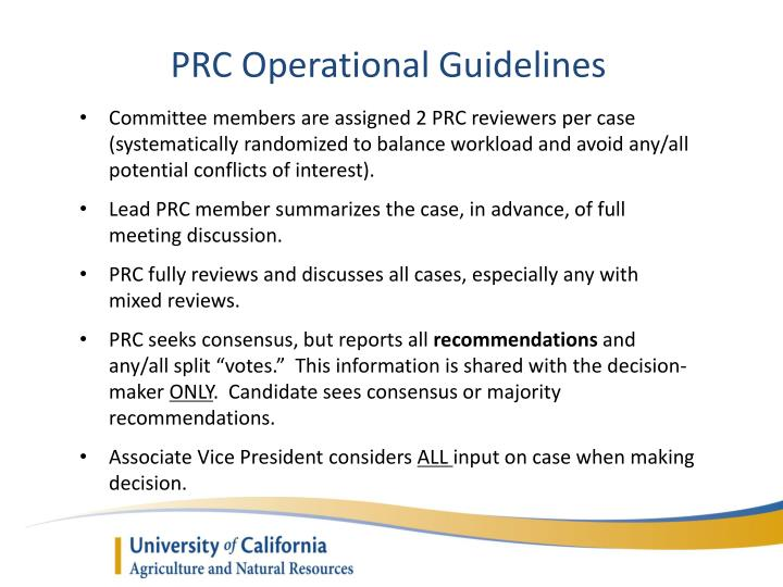 PRC Operational Guidelines