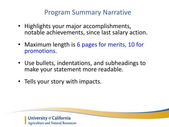 Program Summary Narrative