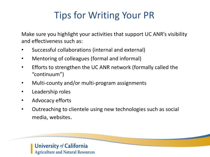 Tips for Writing Your PR