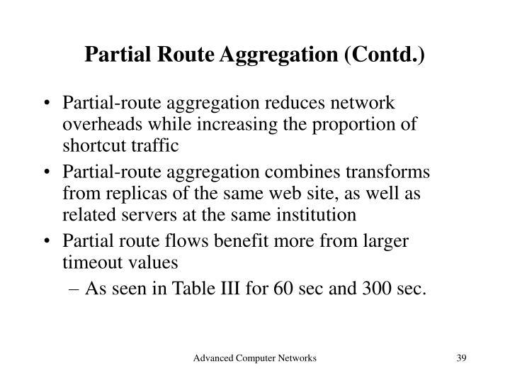 Partial Route Aggregation (Contd.)
