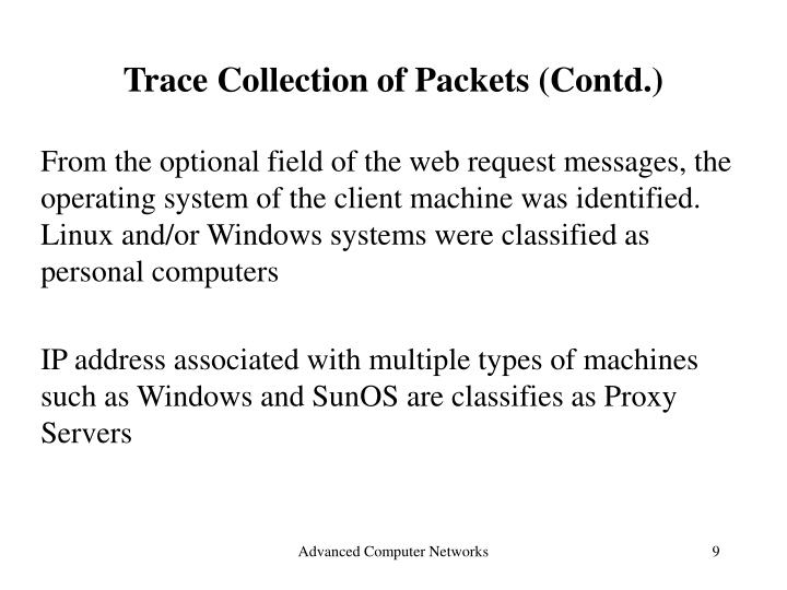 Trace Collection of Packets (Contd.)
