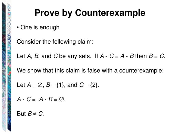 Prove by Counterexample