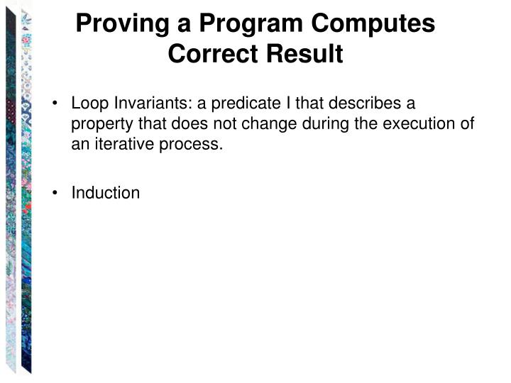 Proving a Program Computes Correct Result