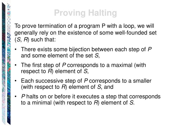 Proving Halting