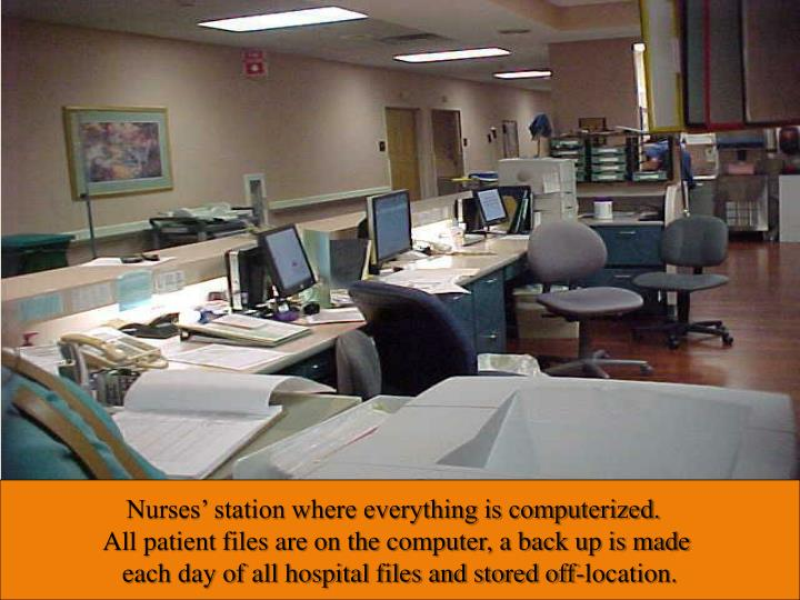 Nurses' station where everything is computerized.