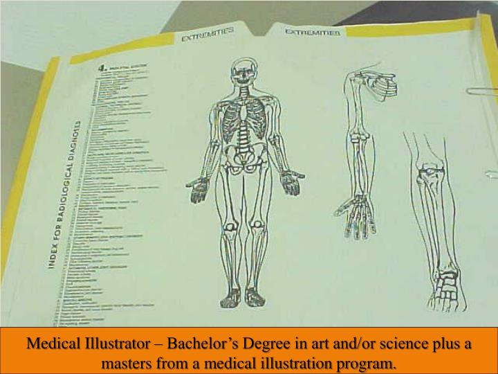 Medical Illustrator – Bachelor's Degree in art and/or science plus a masters from a medical illustration program.