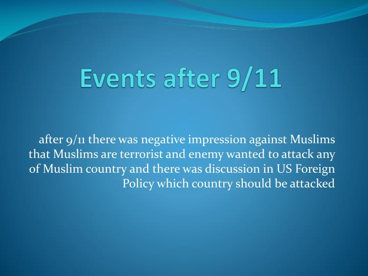Events after 9/11