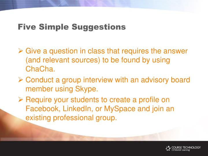 Five Simple Suggestions