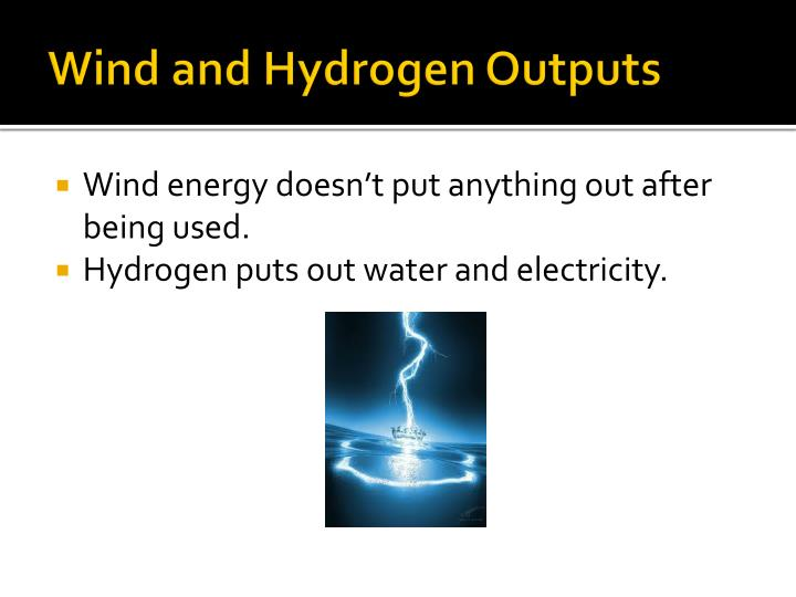 Wind and Hydrogen Outputs