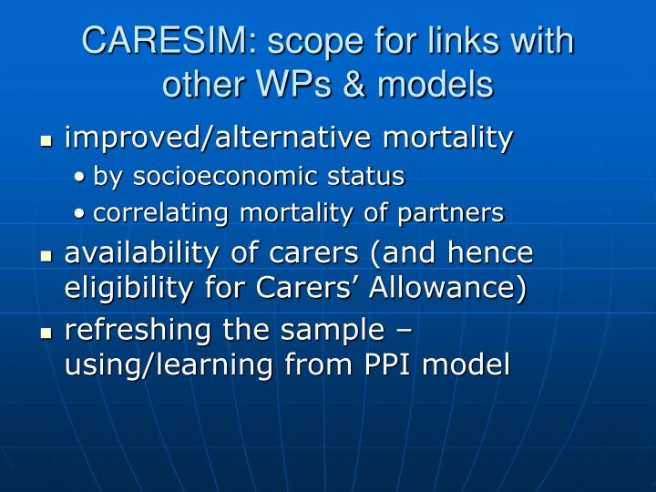 Caresim scope for links with other wps models
