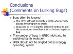 conclusions comments on lurking bugs