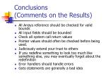 conclusions comments on the results