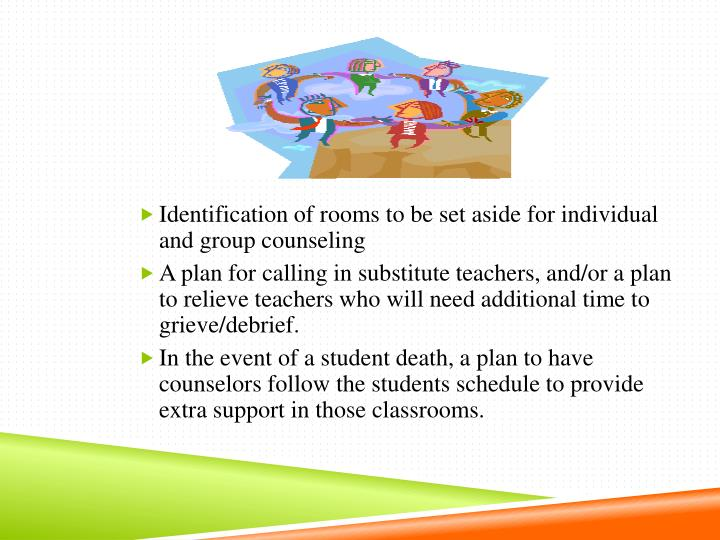 Identification of rooms to be set aside for individual and group counseling