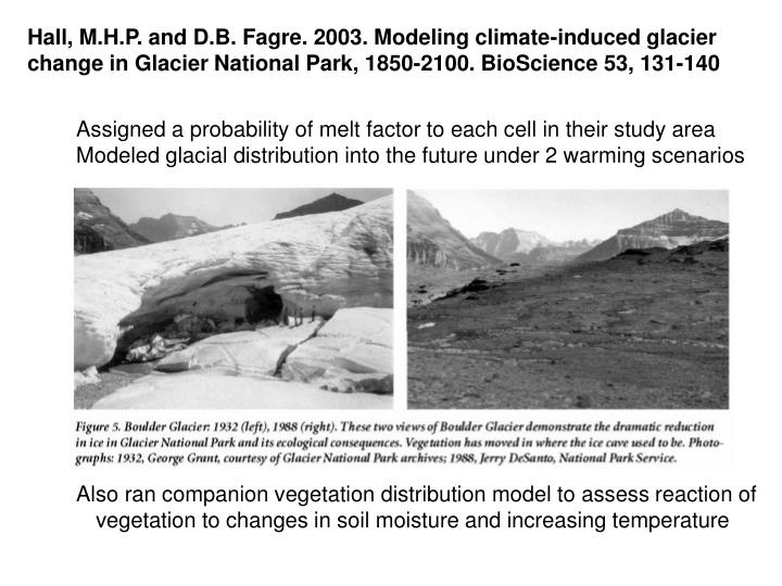 Hall, M.H.P. and D.B. Fagre. 2003. Modeling climate-induced glacier change in Glacier National Park, 1850-2100. BioScience 53, 131-140