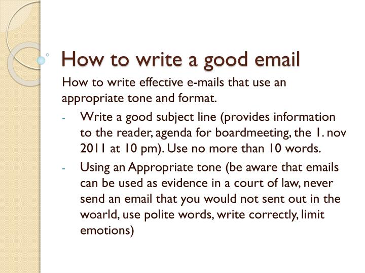 PPT - How to write a good email PowerPoint Presentation - ID