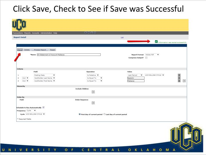 Click Save, Check to See if Save was Successful