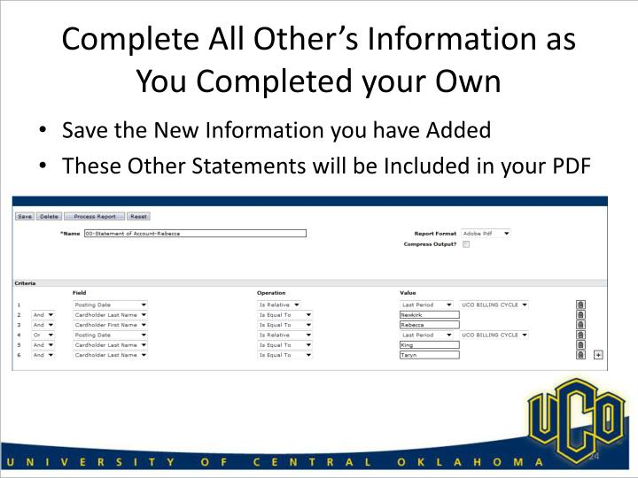 Complete All Other's Information as You Completed your Own