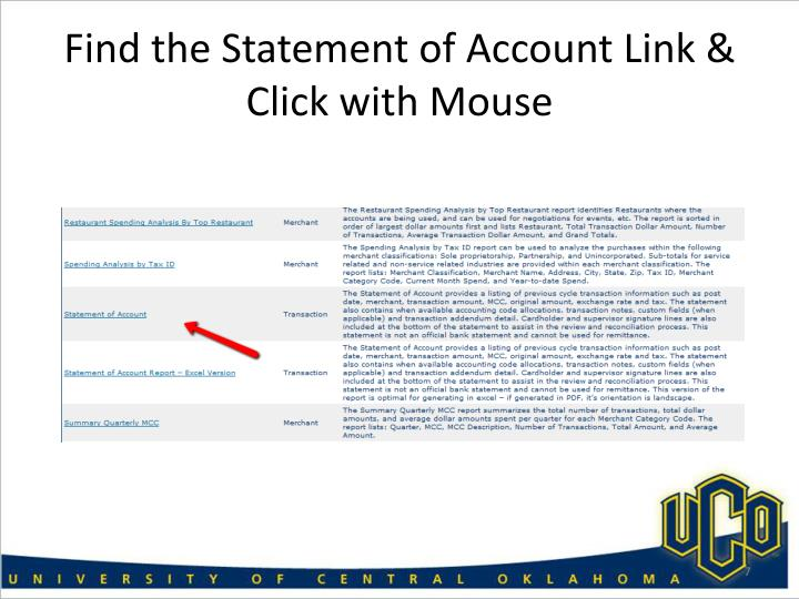 Find the Statement of Account Link & Click with Mouse