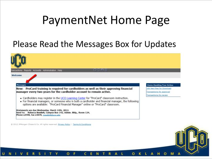 PaymentNet Home Page