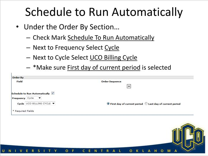 Schedule to Run Automatically