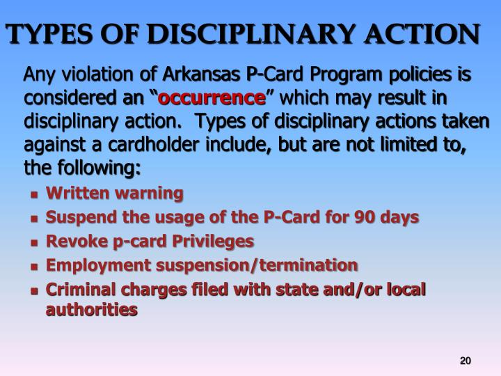 TYPES OF DISCIPLINARY ACTION
