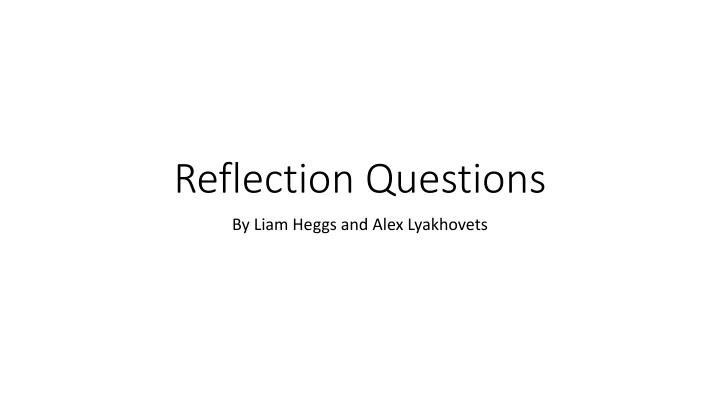 reflection questions n.