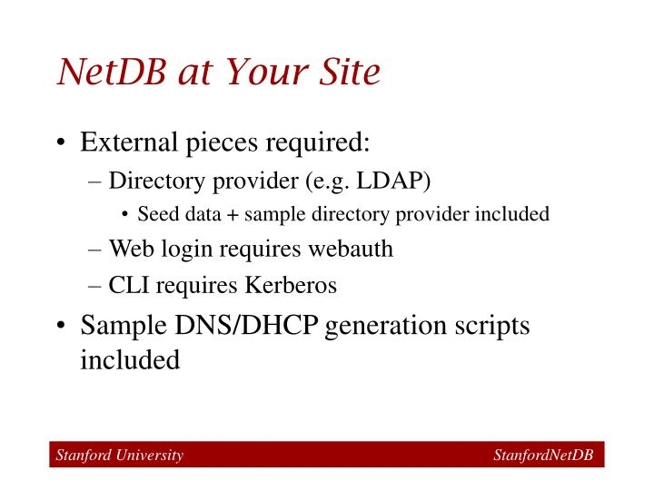 NetDB at Your Site