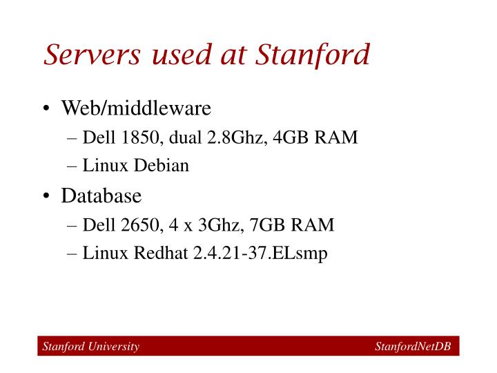 Servers used at Stanford