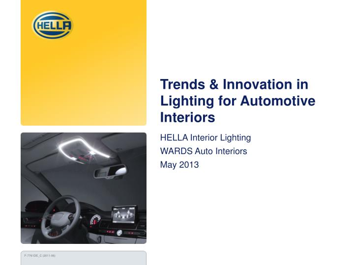 trends innovation in lighting for automotive interiors n.