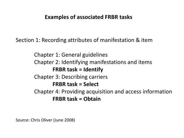 Examples of associated FRBR tasks