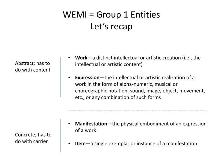 WEMI = Group 1 Entities