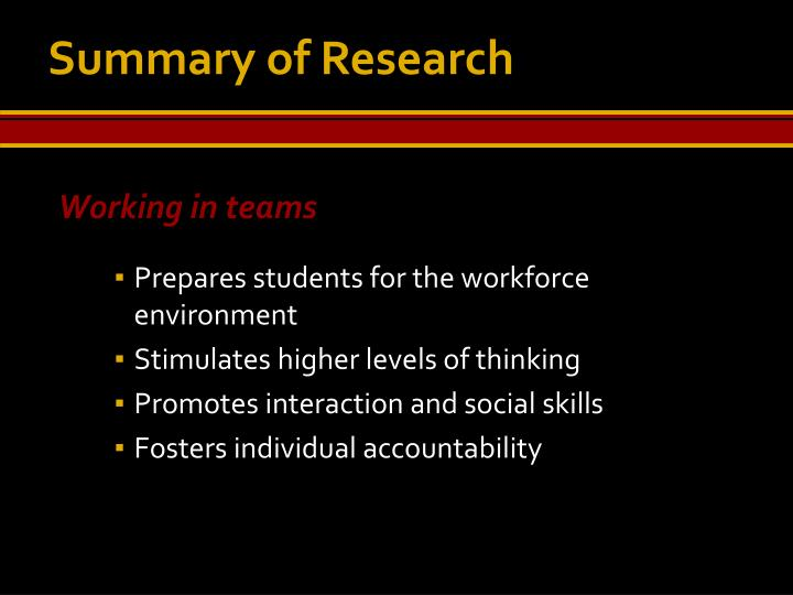 Summary of Research