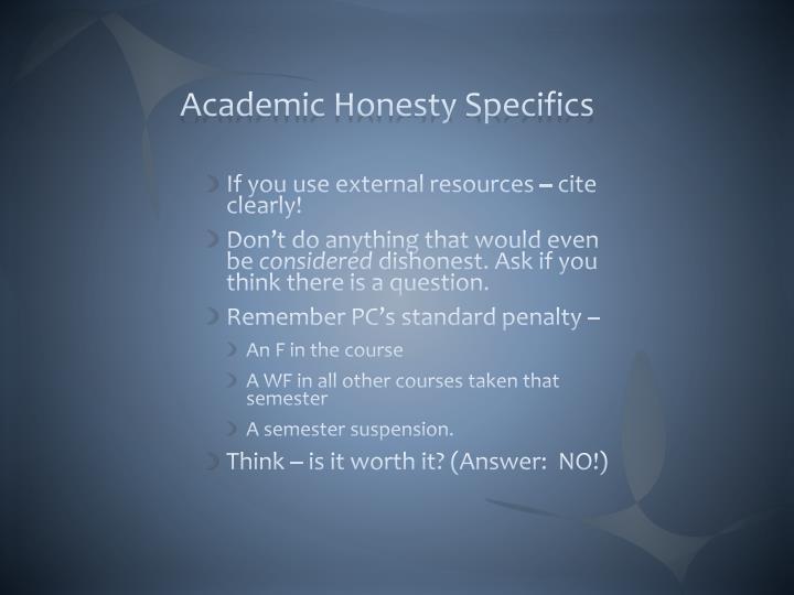 Academic Honesty Specifics