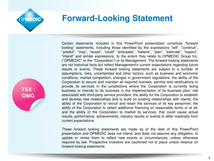 Forward-Looking Statement